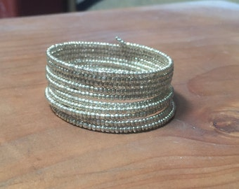 gold seed bead 9 layer stack memory wire every day fancy bracelet