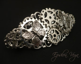 Steampunk hairclip barrette with butterflies