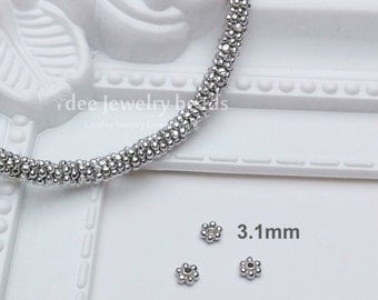 3.5mm silver beads, Daisy flower spacer, Solid 925 Sterling Silver with Rhodium Plated F52A
