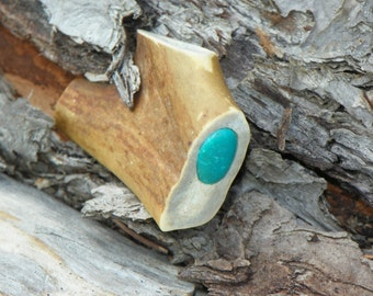 White Tail Deer Antler Pocket Pipe With Turquoise Inlay, A.K.A.-Travel Pipe