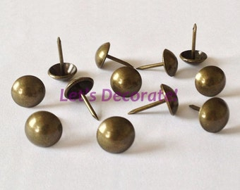 Retail 150pcs D11mm*L17mm Brass Color Plated Decorative Nails,Loosing Nails,Upholstery  Tacks,Sofa Tacks,Hobnails,DIY Furniture Accessory
