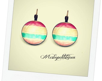 cabochon chic bohemian spirit, pink cabochon earrings beige and blue