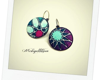 Japanese, Japanese fabric pink and blue cabochon earrings