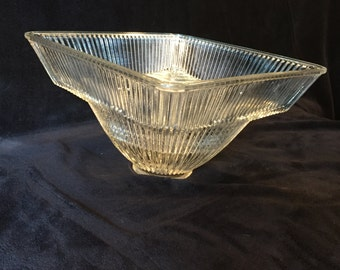 Ceiling Light Glass Fixture.  Vintage Heavy Clear Glass