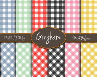 """Gingham / Vichy Patterns - HD 300 DPI - 12x12"""" - 12 sheets -Scrapbooking - Digital - Instant Download - Unlimited Use"""