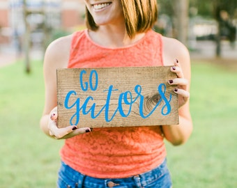 Hand Lettered Wood Signs | Hand Painted Sign | College Football Sign | Sports Team Signs | CustomTeam Sign | Go Gators | Handcrafted Sign