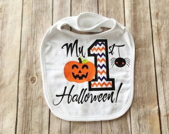 My First Halloween Baby Bib - 1st Halloween Bib - Baby's First Halloween - Happy Halloween