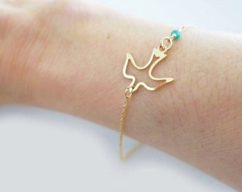 Bird Bracelet, Delicate Minimal Bracelet,Dainty Gold Silver Gemstone, Stacking Bracelet, Ruby, Emerald, Rose Quartz, just1gold
