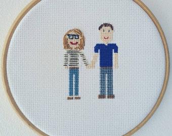 Personalised cross-stitch hoop art