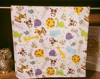 Zoo Print FLannel with Light Blue Blanket