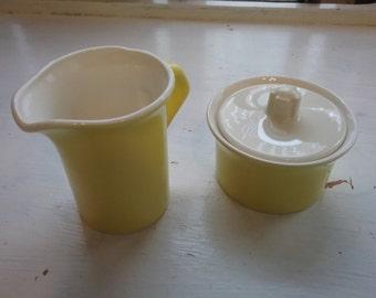 "Vintage Ceramic ""SUNNY YELLOW"" Sugar Bowl And Creamer Set, Made in USA"