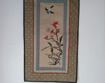 Vintage Asian, Embroidered Silk Panel, With Blue Bird, Flowers and Bee!