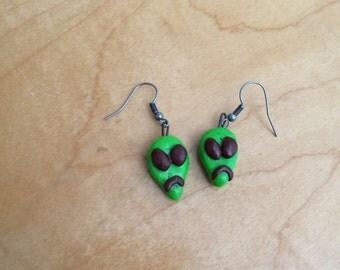 Green Men Alien Earrings