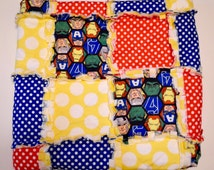 Baby Quilt, Baby Rag Quilt, Superhero Bedding, Superhero Blanket, Christmas Gift, New Mom, Baby Shower Gift, Baby Birthday Gift, Polka Dot