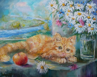 Ginger kitten and the flowers