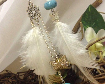Blue Butterfly - earrings asymmetrical feathers