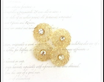 Rhinestone Plastic Flower Buttons with Shank Backs