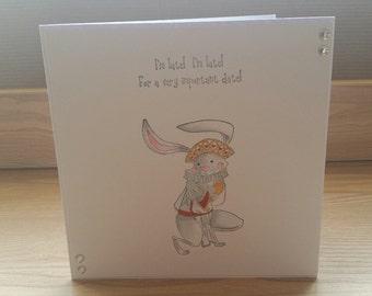 Alice in Wonderland White Rabbit Hand Made Card