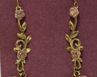 Estate Vintage 10k Rose Gold Dangle Heart Earrings