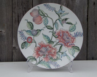 Antique China Famille Rose Porcelain Floral Shallow Plate Hand Painted Handmade Rare Collectibles