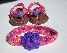 3-6 mos. girls crocheted flip flops/headband set. Pink with yellow, blue, purple & purple flower.