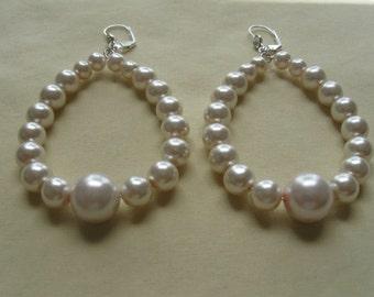 White Pearl Hoop Earrings E017