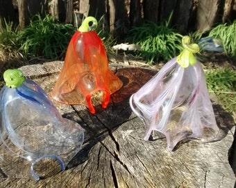 Handmade glass blown fairy houses