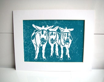 Seaside Donkeys in Turquoise, hand printed lino print a9