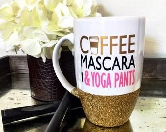 Coffee Mascara Yoga Pants, Glitter Mug, Mom Mug, Momlife, Funny Coffee Mug,Glitter Dipped Mug