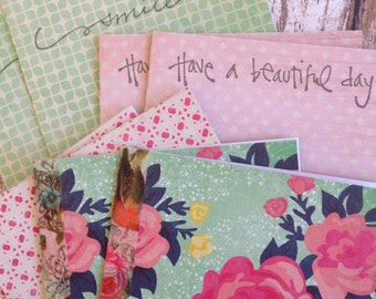 Rustic Notecards/Cottage Style Notecards/Garden Style Mini Cards/Floral Notecards w/Envelopes and Seals/Sentiment Note Cards/Set of 8
