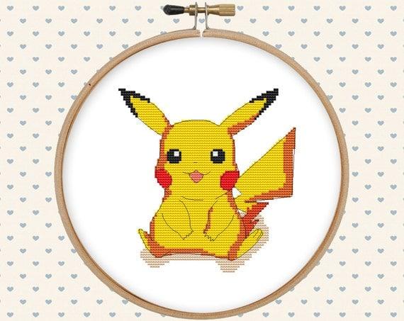 Pokemon cross stitch pattern - pikachu cross stitch - pokemon embroidery design - pokemon go - modern, funny, instant digital download