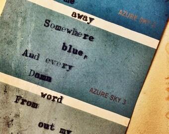Blue. Colour Swatch Poem.