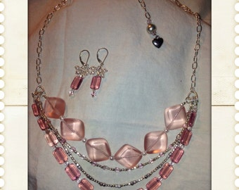 Spring Pink Necklace & Earring Set