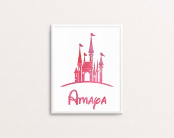 Personalized Castle Print: Princess Print, Digital Print, Print for Girl's Room, Digital Download, Ready to Print, Princess Castle, Pink