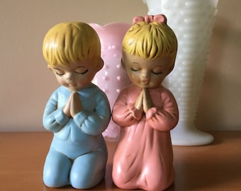 Vintage Hand-Painted Praying Boy and Girl Figurines