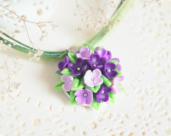 Weddings jewellery lilac necklace flower summer wedding favours violet necklace Mother Day gift for bridal shower gift for daughter from mom