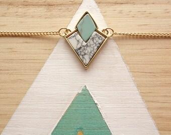 Collier ras du cou géométrique | effet faux marbre bleu turquoise et blanc | Idee Cadeau fille | Mignon et discret | Livraison gratuite