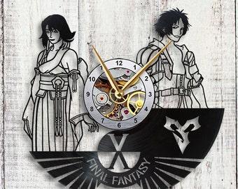 Final Fantasy X Tidus & Yuna Vinyl LP Record Wall Clock