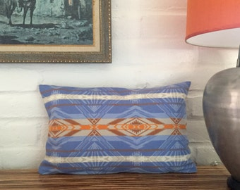 Blue and orange lumbar pillow made from Pendleton® fabric with insert // 14 x 22