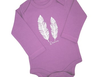 Dream Feathers / Baby Bodysuit / Baby Onesie / Long Sleeve / Winter Clothes / Organic Cotton / Baby Clothes / Purple