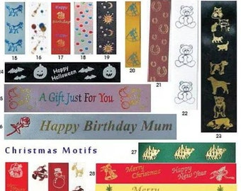 personalised satin ribbon for any occasion inc birthdays, weddings, christenings, per metre, various widths