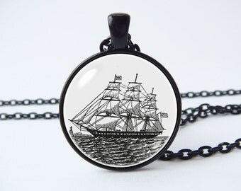 Vintage ship necklace Ship jewelry Antique nautical Pirate ship pendant Nautical jewelry Pirate boat Sailing necklace Schooner Sailor gift