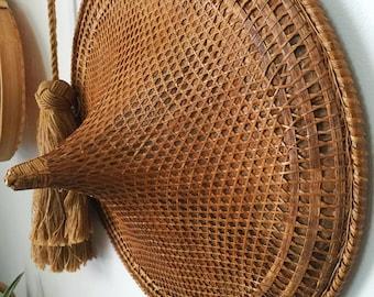 Vintage Asain bamboo cone hat/ wall decor