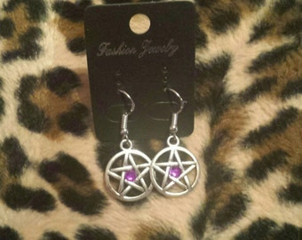 Custom Birthstone Pentagram Earrings