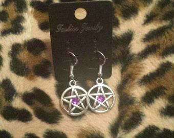Custom Birthstone Pentagram Earrings