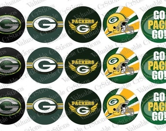 """Green Bay Packers Bottlecap Images, 1"""" Circle Images, 4x6 Collage Sheet, Football Images, Digital Collage Sheet, Cupcake Toppers"""