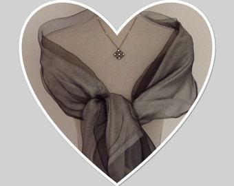 Black Grey 2 Layer Silk Pashmina Wrap Shawl Scarf Weddings Gift Idea