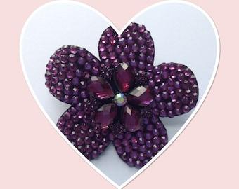 Purple Crystals Petal Design Brooch Corsage Hair Accessory - Weddings Races Proms Parties