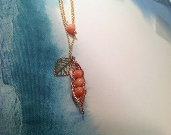 Natural coral pea pot necklace