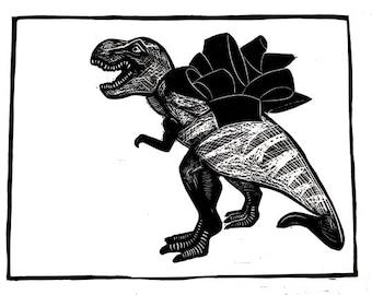 Tyrannosaurus Rex Linocut Animal Print